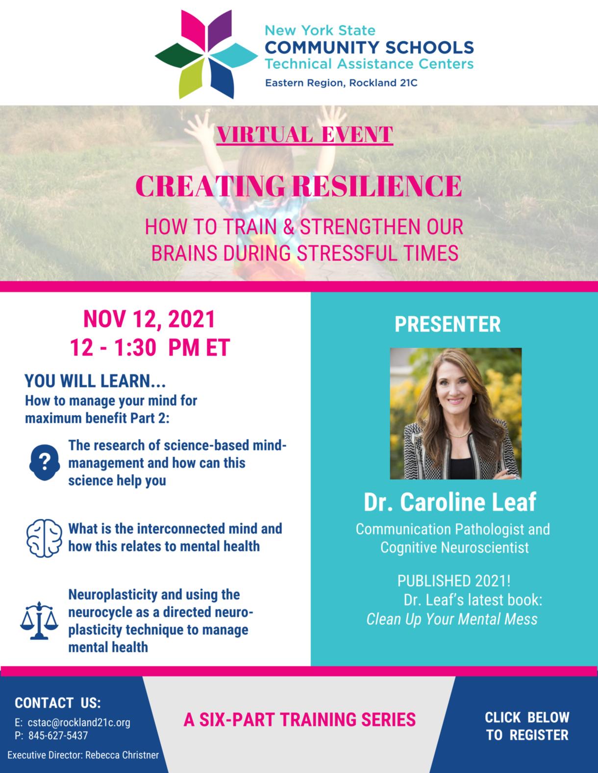 creating resilience with dr caroline leaf november 12